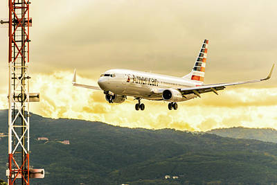 Jamaican Sunsets Photograph - American Airlines by Debbie Ann Powell