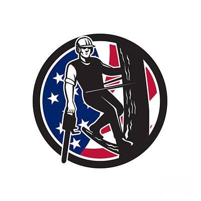 Digital Art - American Tree Surgeon Usa Flag Icon by Aloysius Patrimonio