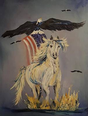 Painting - American Tribute Ghost Horse      10 by Cheryl Nancy Ann Gordon