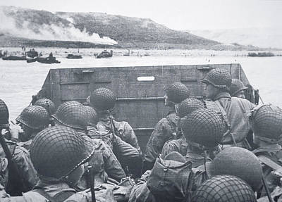 Omaha Photograph - American Troops In Landing Craft Head For Omaha Beach, 6th June 1944 by American School