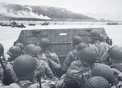 American Troops In Landing Craft Head For Omaha Beach, 6th June 1944 Print by American School