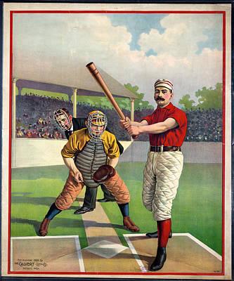Mixed Media - American Vintage Baseball Poster - The Calvert Litho Co by Studio Grafiikka