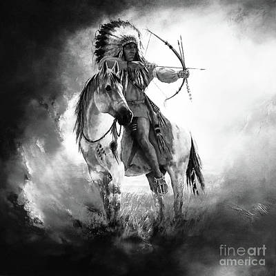 Indian Tribal Art Painting - American Warriors 76 by Gull G