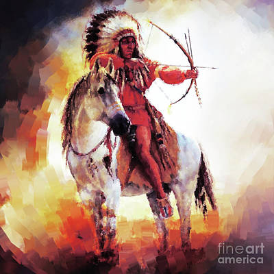 Indian Tribal Art Painting - American Warriors 99 by Gull G