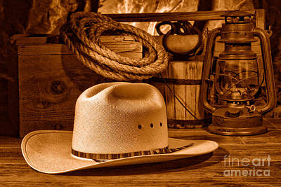 Photograph - American West Rodeo Cowboy Hat - Sepia by Olivier Le Queinec