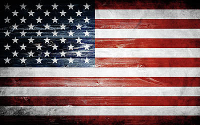 Digital Art - American Wooden Flag by Nicklas Gustafsson