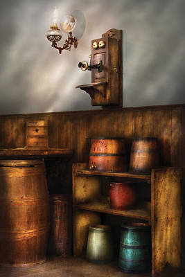 Americana -  In The Corner Of The General Store  Art Print by Mike Savad