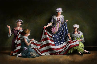 Photograph - Americana - Flag - Birth Of The American Flag 1915 by Mike Savad