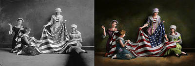 Photograph - Americana - Flag - Birth Of The American Flag 1915 - Side By Side by Mike Savad