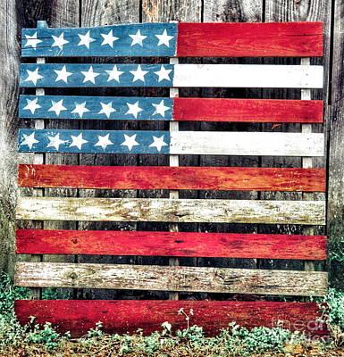 Wood Pallet Flag Photograph - Americana Flag by John Myers