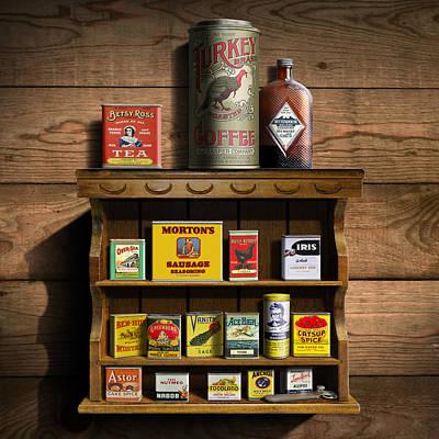 The Past Digital Art - Americana Kitchen Art Decor - Vintage Spice Cans Tins 2 - Nostalgic Spice Rack - Square Format by Walt Curlee
