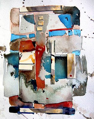 Abstract Collage Drawing - Americana by Mindy Newman