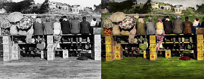 Photograph - Americana - People - A Well Oiled Game 1932 - Side By Side by Mike Savad