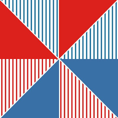 Shapes Digital Art - Americana Pinwheel by Linda Woods