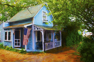 Photograph - Blue House - Americana Series 8 by Carlos Diaz