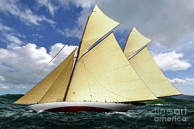 1920 America's Cup - Resolute Vs Shamrock Iv Schooners Marine Art Print by Thomas Pollart