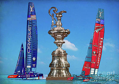 Kiwi Mixed Media - America's Cup 2017 by Edelberto Cabrera