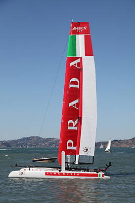 America's Cup In San Francisco - Italy Luna Rossa Paranha Sailboat - 5d18216 Print by Wingsdomain Art and Photography