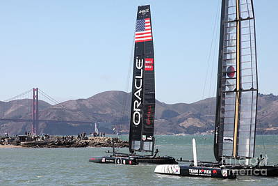 Photograph - America's Cup Racing Sailboats In The San Francisco Bay 5d18242 by San Francisco Art and Photography