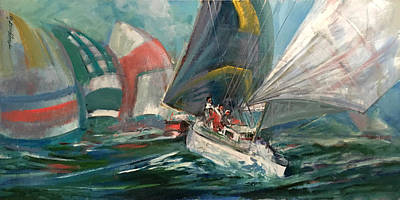 Sporting Event Painting - America's Cup Yacht Race  by Hall Groat Sr