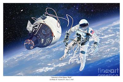 Eva Digital Art - America's First Space Walk by Mark Karvon