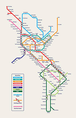 America The Continent Digital Art - Americas Metro Map by Michael Tompsett
