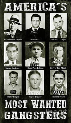 Americas Most Wanted Gangsters Art Print by Jon Neidert