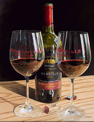 Wine-bottle Painting - America's Nebbiolo by Brien Cole