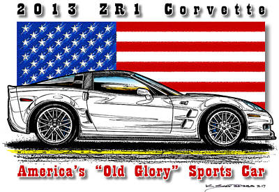 Mixed Media - America's Old Glory 2013 Zr1 Corvette by K Scott Teeters