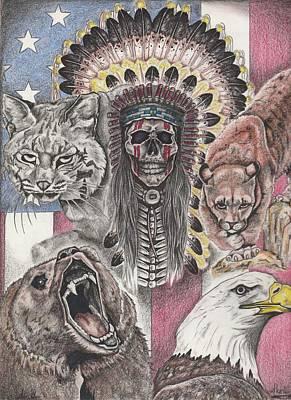Bobcat Art Drawing - America's Spirit by Roy Cowboy