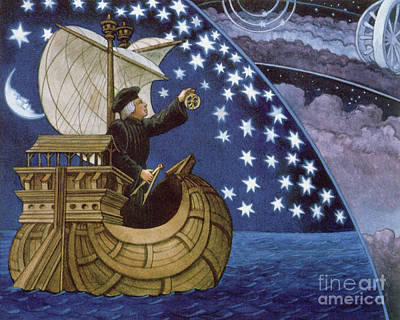 Amerigo Vespucci Navigating By The Stars On His 3rd Voyage Art Print by French School