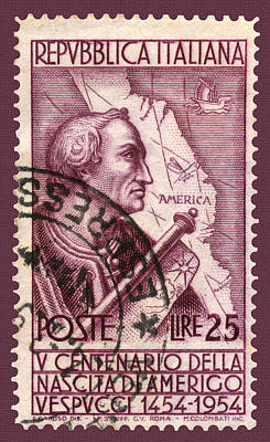Photograph - Amerigo Vespucci Postage Stamp by Phil Cardamone