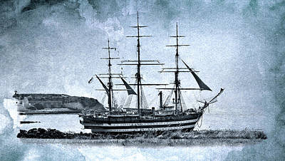 Amerigo Vespucci Sailboat In Blue Art Print by Pedro Cardona