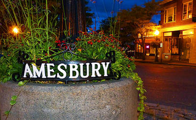 Photograph - Amesbury Center October Night by Christine Green
