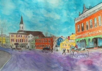 Painting - Amesbury Market Square by Anne Sands
