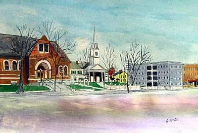 Painting - Amesbury Public Library Circa 1920 by Anne Sands