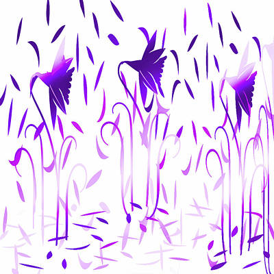 Digital Art - Amethyst Dancing Flowers by Aimee L Maher Photography and Art Visit ALMGallerydotcom