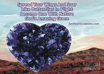Photograph - Amethyst Heart Sedona Spread Your Wings by Marlene Rose Besso