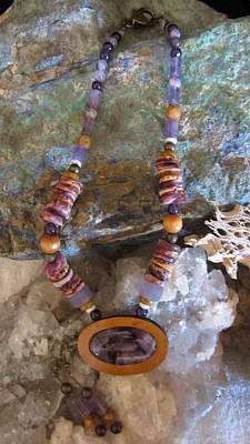 Jewelry - Amethyst In Gourd Wood #d132 by Barbara Prestridge