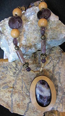 Jewelry - Amethyst Inlay In Gourd Wood by Barbara Prestridge