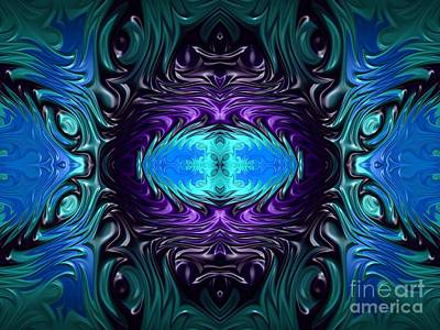 Digital Art - Amethyst Sapphire Turquoise Gems Fractal Abstract by Rose Santuci-Sofranko