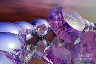 Digital Art - Amethysts And Pearls by Sandra Bauser Digital Art