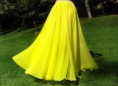 Circle Skirt Photograph - Ameynra Fashion - Bright-yellow Circle Skirt by Sofia Metal Queen