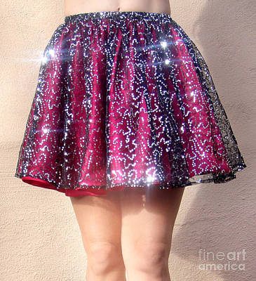 Circle Skirt Photograph - Ameynra Fashion Sequin Mini Skirt, Silver-burgundy by Sofia Metal Queen