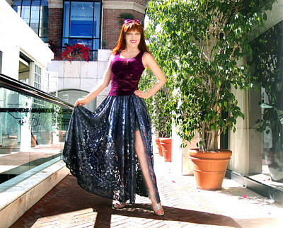 Ameynra Fashion. Silver Lace Skirt Print by Sofia Metal Queen
