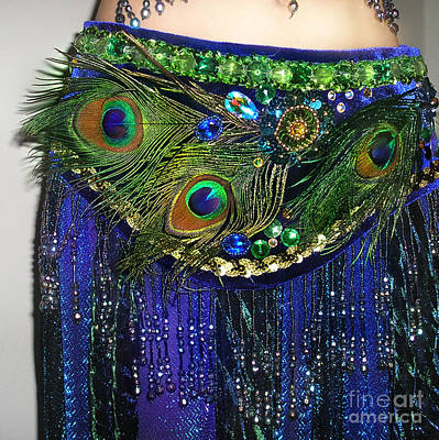 Belly Beads Photograph - Ameynra Fashion Skirt With Peacock Feathers by Sofia Metal Queen
