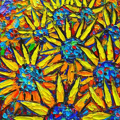 Tuscan Sunset Painting - Amid Suns - Sunflowers Field Modern Impressionist Palette Knife Oil Painting By Ana Maria Edulescu  by Ana Maria Edulescu