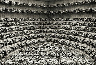 Porche Photograph - Amiens Cathedral - Tympanum Of Central West Portal Bw by RicardMN Photography