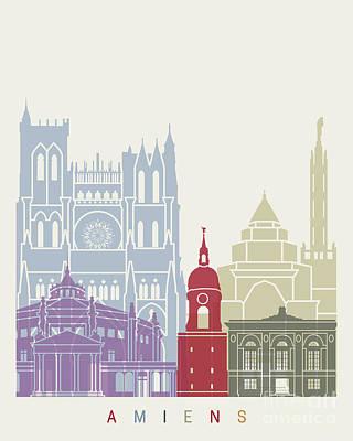 Amiens Skyline Poster Art Print