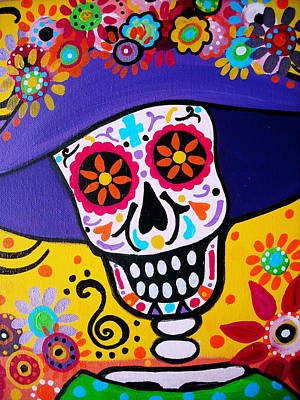 Mexican Town Painting - Amiga Catrina Smile by Pristine Cartera Turkus